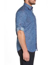 Bugatchi - Blue Slim Fit Button Tab Sport Shirt for Men - Lyst