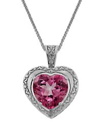 Liberty | Metallic Sterling Silver Pink Quartz Heart Pendant Necklace | Lyst