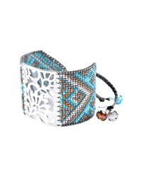 Mishky - Blue Blossom Beaded Cuff Bracelet - Lyst