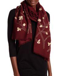 Saachi - Purple Embroidered Golden Branch Merino Wool Wrap - Lyst