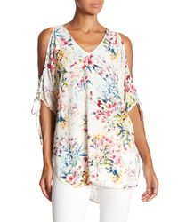 Fifteen Twenty - Multicolor Floral Cold Shoulder Blouse - Lyst