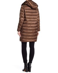 Max Mara - Brown Fez Genuine Dyed Rabbit Fur Trim Coat W/ Hoodie - Lyst