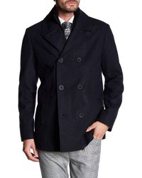Kenneth Cole - Blue Ribbed Liner Peacoat for Men - Lyst