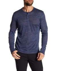 Tocco Toscano - Blue Long Sleeve Linen Henley for Men - Lyst