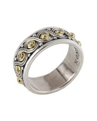 Konstantino - Metallic Sterling Silver & 18k Gold Pave Beaded Diamond Ring - Size 7 - Lyst
