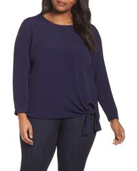 Sejour - Blue Side Tie Blouse - Lyst