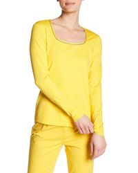 Lafayette 148 New York - Yellow Metallic Trim Scoop Neck Long Sleeve Tee - Lyst