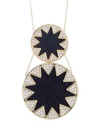 House of Harlow 1960 | Metallic Leather & Crystal Sunburst Detail Double Pendant Necklace | Lyst