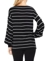 Vince Camuto - Black Long Sleeve Chevron Intarsia Sweater - Lyst