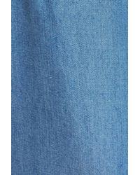 Caslon - Blue Belted Chambray Crop Pants (regular & Petite) - Lyst