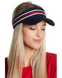Steve Madden - Blue On-track Striped Visor - Lyst