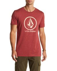 Volcom | Red Fall Stone Short Sleeve Tee for Men | Lyst