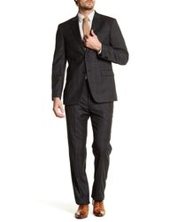 Tommy Hilfiger | Gray Charcoal Plaid Two Button Notch Lapel Standard Fit Wool Suit for Men | Lyst
