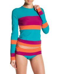 Nicole Miller   Multicolor Stripe Colorblock Rash Guard   Lyst