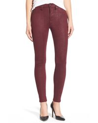 7 For All Mankind - Red High Waist Ankle Skinny Pant - Lyst