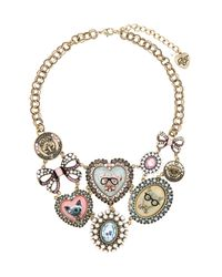 Betsey Johnson - Metallic Critter Cameo & Coin Statement Necklace - Lyst
