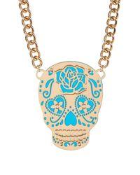 Betsey Johnson - Blue Frontal Sugar Skull Pendant Necklace - Lyst