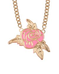 Betsey Johnson | Pink Rose Frontal Pendant Necklace | Lyst