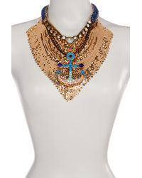 Betsey Johnson - Metallic Anchor Mesh Frontal Drop Necklace - Lyst
