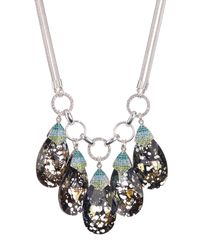 Betsey Johnson | Black Pave Stone Drop Necklace | Lyst