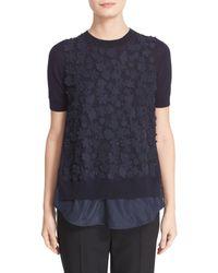 Moncler - Blue 'maglia' Laser Cut Floral Applique Top - Lyst