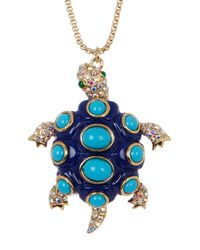 Betsey Johnson | Blue Turtle Long Pendant Necklace | Lyst