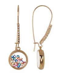 Betsey Johnson - Multicolor Shaky Bead Filled Round Charm Drop Earrings - Lyst