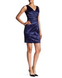 Chetta B   Blue V-neck Sleeveless Ruched Dress   Lyst