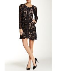 Everleigh   Black Long Sleeve Placed Lace Flare Dress   Lyst