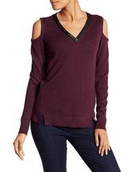 Democracy | Purple Faux Leather Trim Cold Shoulder Sweater | Lyst