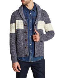 Barque | Blue Shawl Collar Stripe Knit Cardigan for Men | Lyst