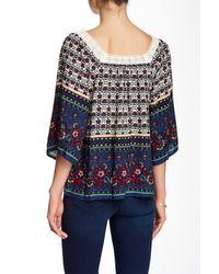 Blu Pepper - White Crochet Neck Printed Blouse - Lyst