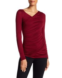 Bailey 44   Red Long Sleeve Ruched Blouse   Lyst