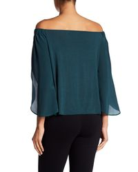 Bailey 44 | Blue Off-the-shoulder Woven Silk Blouse | Lyst