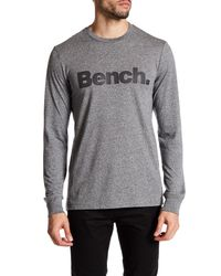 Bench | Gray Marled Logo Long Sleeve Tee for Men | Lyst