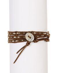 Chan Luu - Multicolor Ladder Grey Stone Bead Detail Wrap Bracelet - Lyst
