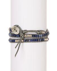 Chan Luu - Blue Ladder Stone Bead Detail Wrap Bracelet - Lyst