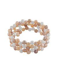 Splendid   Multicolor Faux Leather 8-9mm Freshwater Pearl Bracelet   Lyst