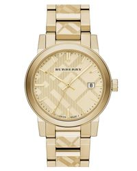 Burberry | Metallic Men's Check Stamped Bracelet Watch for Men | Lyst