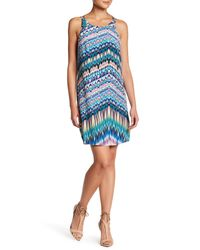 Charlie Jade | Blue Strappy Back Print Silk A-line Dress | Lyst