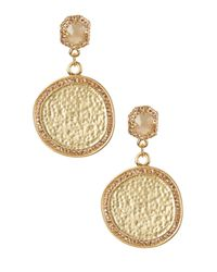 Vince Camuto | Metallic Hammered Medallion Pave Double Drop Earrings | Lyst