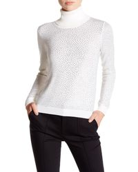 Alice + Olivia - White Jordana Rhinestone Wool Turtleneck Sweater - Lyst