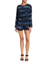 Charlie Jade - Blue Long Sleeve Silk Romper - Lyst