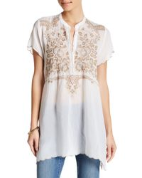 Johnny Was | White Short Sleeve Embroidered Blouse | Lyst