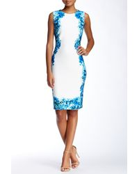 Calvin Klein | Blue Floral Print Panel Dress | Lyst