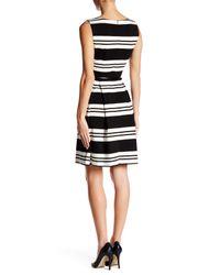 Calvin Klein - Black Striped Belted Fit & Flare Dress - Lyst