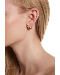 Cole Haan - Brown Double-sided Freshwater Pearl & Geometric Ball Stud Earrings - Lyst