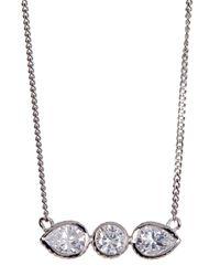 Cole Haan | Metallic Cz Round & Teardrop Bar Pendant Necklace | Lyst