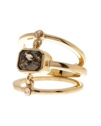 Cole Haan - Metallic 12k Gold Plated Chain Linked Stone Ring - Size 7 - Lyst
