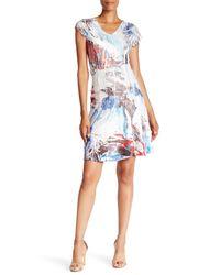 Komarov   Blue V-neck Cap Sleeve Floral Printed Dress   Lyst